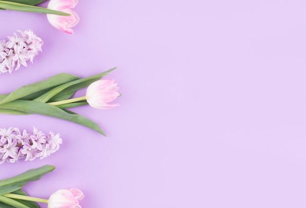 紫色のテーブルの上に花とピンクのチューリップ