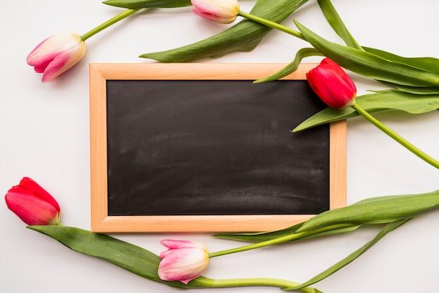 色とりどりの花と黒板の束