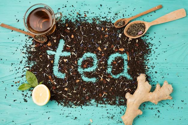茶葉のフラットレイアウト組成