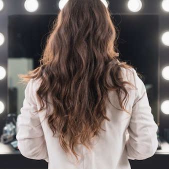 鏡で見ている女性の背面図