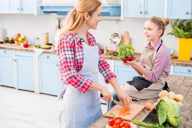 母と娘が台所で食べ物を準備しながらお互いを見て