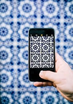 スマートフォン東洋パターンの写真を撮影
