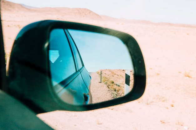 車の鏡の中の砂漠