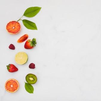 Вид сверху фруктовая линия