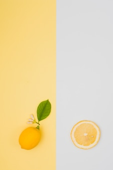 トップビューカットレモン