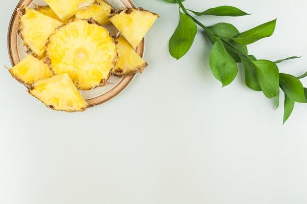 植物の小枝の近くの皿にパイナップルのスライス