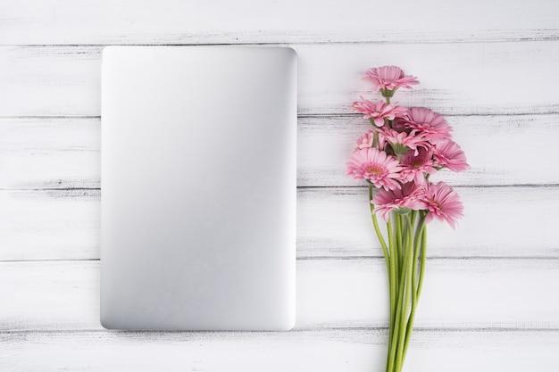 Плоская композиция из цветов и ноутбука