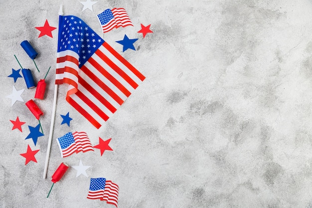 アメリカ独立記念日の装飾のフラットレイアウト
