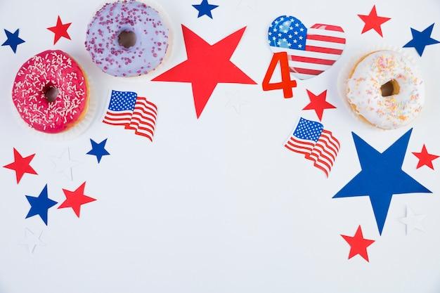 アメリカ独立記念日のアクセサリーのフラットレイアウト