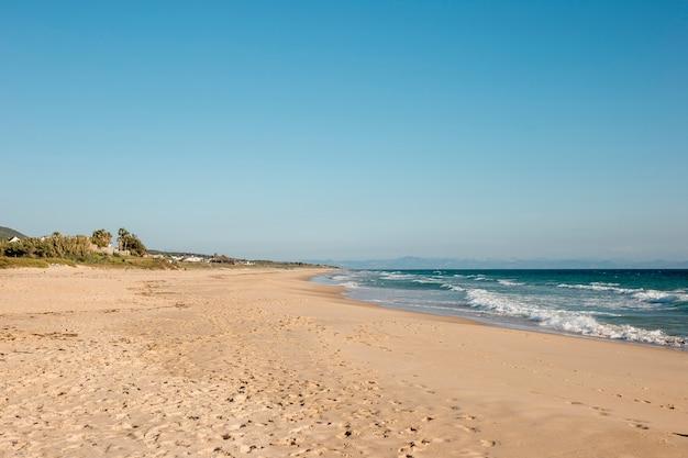 澄んだ青い空と熱帯の楽園の海岸