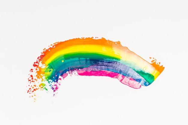 白い背景の上のブラシの虹ストローク