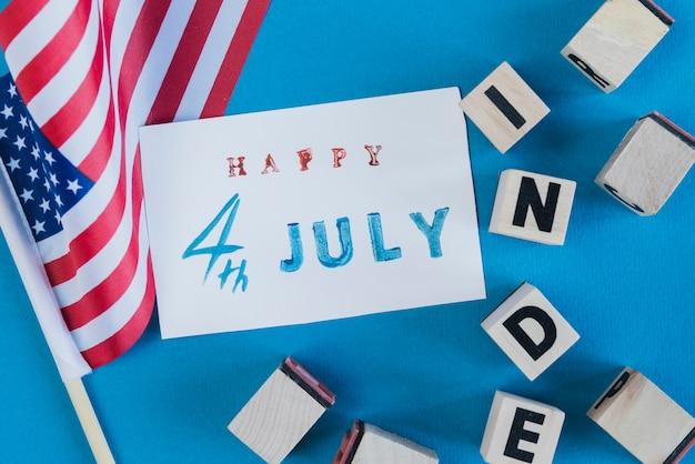 独立記念日のためのカードと装飾