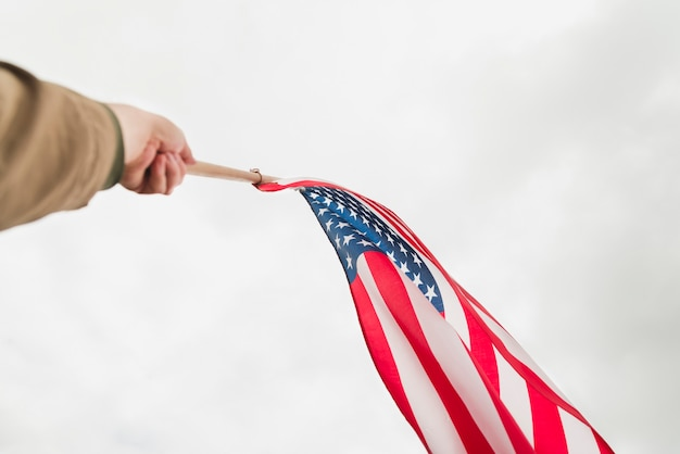 空に手を振っているアメリカの国旗