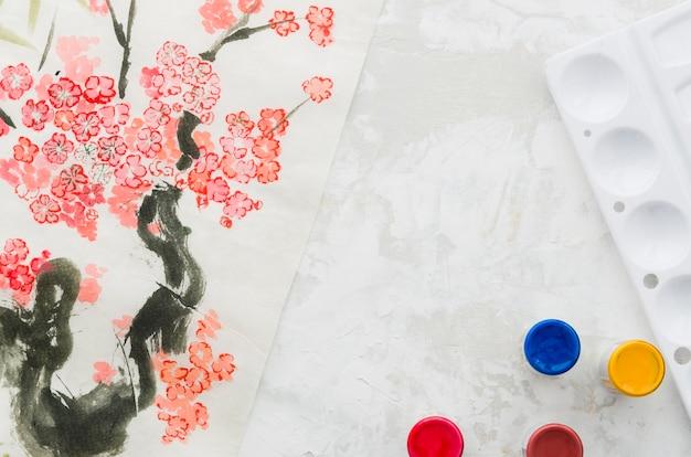 トップビュー水彩花の木の描画