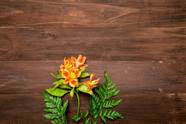 木製の背景にオレンジ色のユリの枝