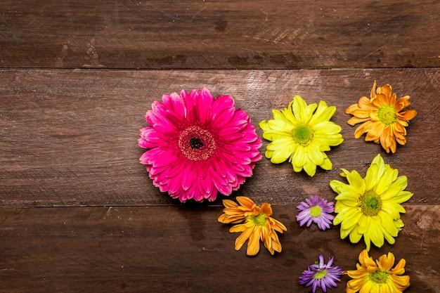 木製の背景に色とりどりの花