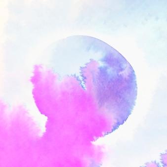 Абстрактный синий и розовый акварельный цвет мокрой кистью мазка