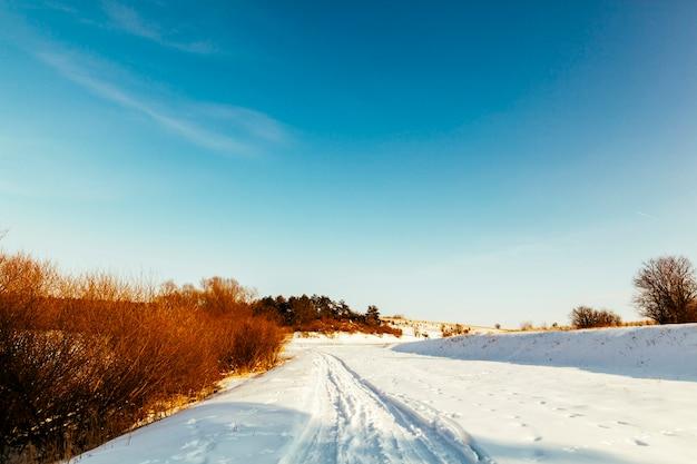 青い空を背景に雪に覆われた風景の遠近スキートラック