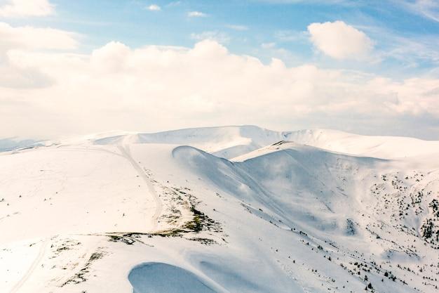 冬の雪の下で高山