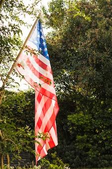 緑の木々に対する透明なアメリカの国旗