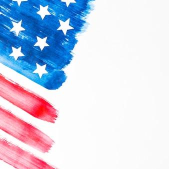 白い背景上に分離されて塗られたアメリカ国旗