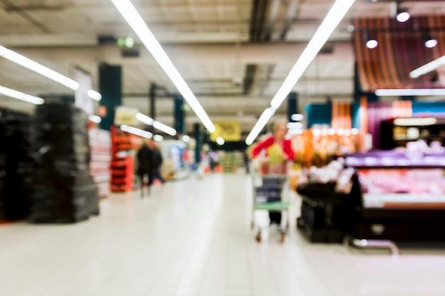 ぼやけ効果を持つスーパーマーケット