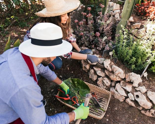 Крупным планом мужского и женского работника, работающих вместе в саду
