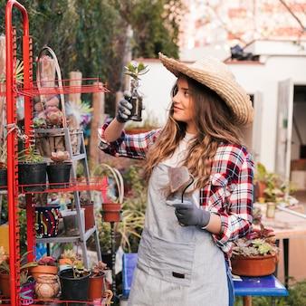 Молодая женщина, держа руку мотыгой в руке, глядя на завод кактусов в саду