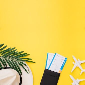 チケットと帽子を持った小型飛行機のパスポートの構成