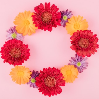 トップビュー色とりどりの花