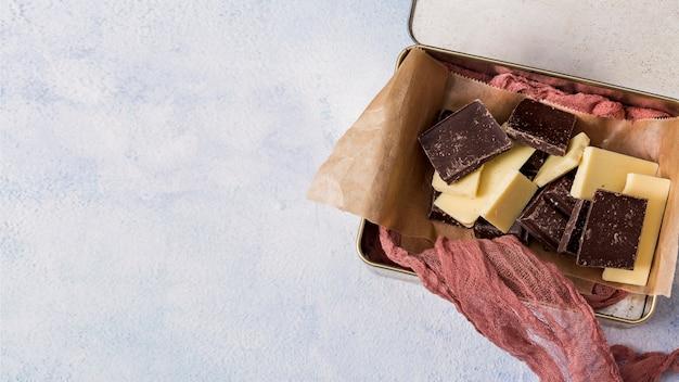 さまざまなチョコレートバーのミックス