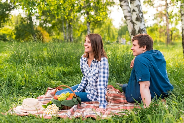 白樺の森の毛布の上に座っている若い恋人たち