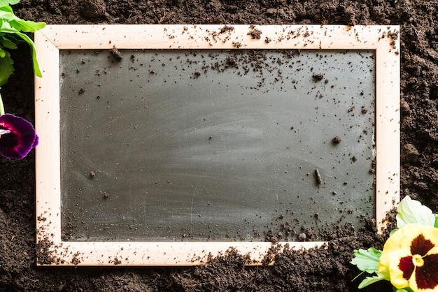 パンジーの花と土の上の空白の木製スレート