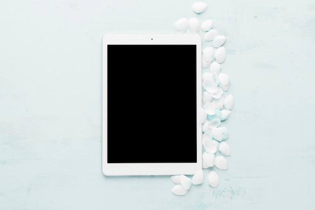 Состав планшета и белых ракушек