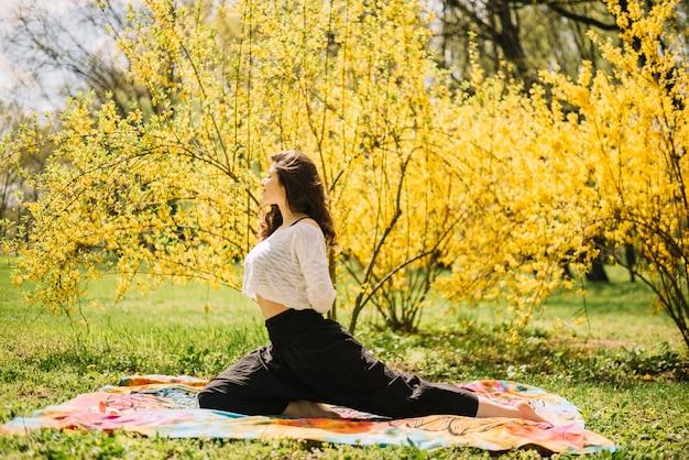 公園で運動しながら彼女の体を伸ばして女性の側面図