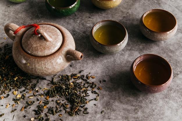 Китайский коричневый чайник и чашки с чайными травами на бетонном фоне