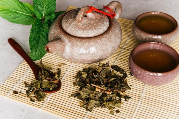 Керамический чайник с травяной чашкой; мята и сушеные чайные листья на подставке