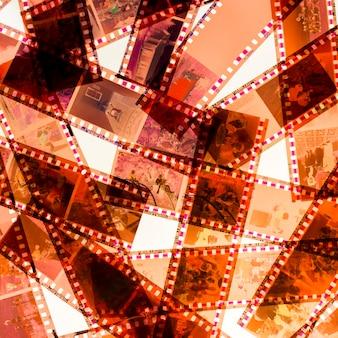 フィルムストライプの白い背景で隔離のフルフレーム