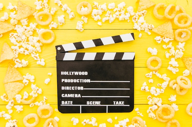 映画館の要素のフラットレイアウト構成