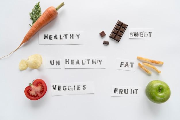 白い背景上に分離されて様々なテキストで健康的で不健康な食べ物