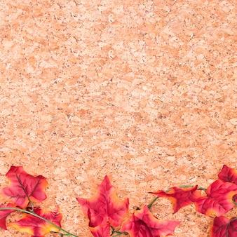 木製の机の上のカエデの葉