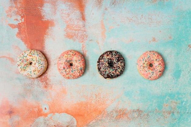おいしいドーナツのフラットレイアウト組成