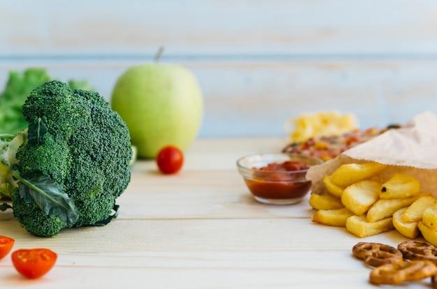 Здоровая еда против нездоровой пищи