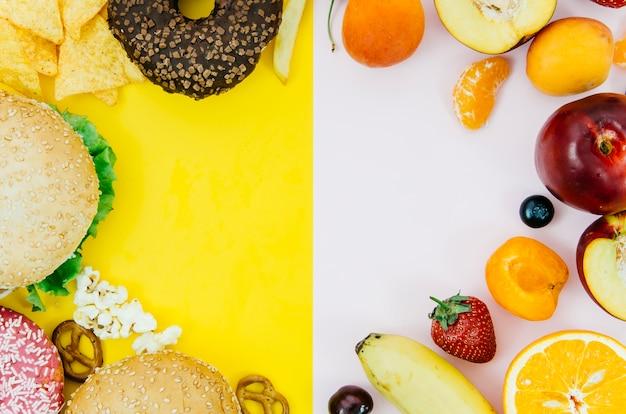 丸みを帯びた食品フレームの上面図