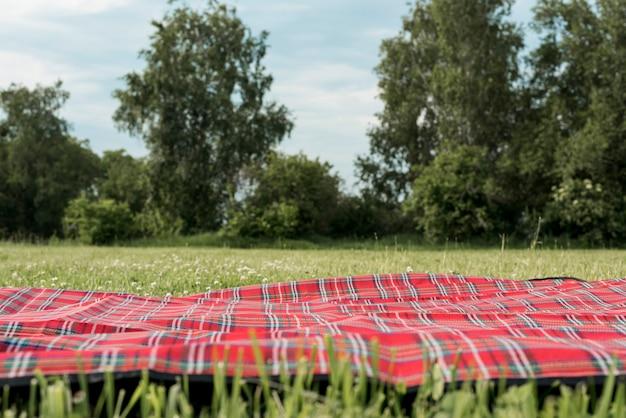 公園の芝生の上のピクニック毛布