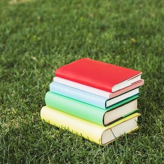 公園の緑の芝生の上のカラフルな本を綴って
