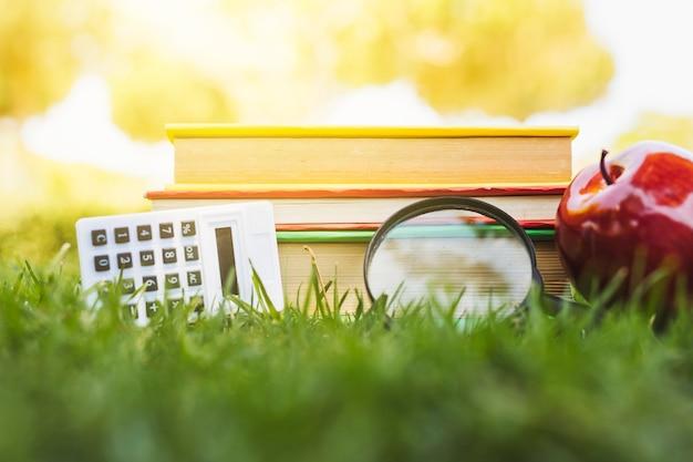 Куча книг с яблоком, калькулятор и лупа на траве