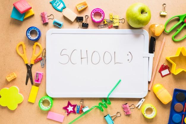 学校のマーカーボードとさまざまな用品