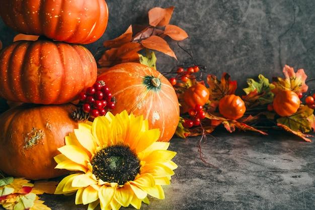 秋の収穫と組成