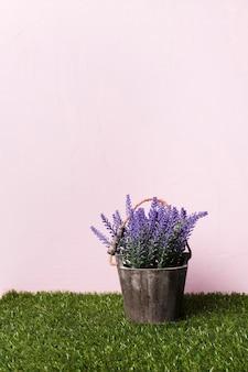 最小限の花瓶の中の装飾的な植物